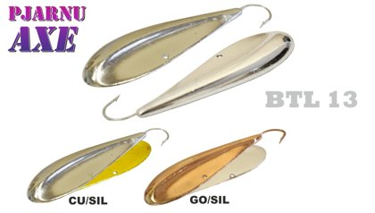 "Akara Lure ""Pjarnu Axe"" 13 (horizontal, 67 mm, 23 g, color: GO/SIL, 1 gb.) art.BTL13-23-GO-SIL"